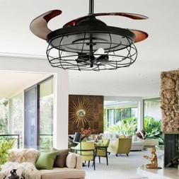 "42"" Retractable Blades Ceiling Fan Light w/ 3 Speed Control"