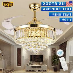 "42"" Remote Chandeliers Rose Gold Ceiling Fan LED Invisable L"