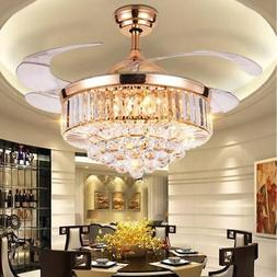 "42"" Rose Gold Invisable Ceiling Fan Lamp Remote LED Crystal"