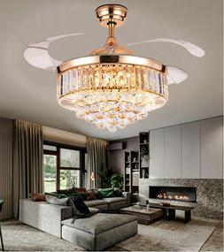 """42"""" Rose Gold Invisible Crystal Ceiling Fan Light Lamp Luxur"""