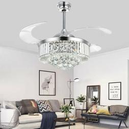 """42"""" Silver Remote Invisible Ceiling Fans Lamps Crystal LED C"""