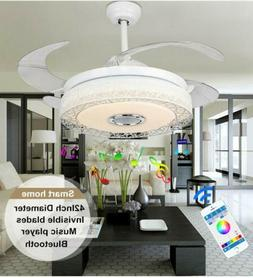 "42"" Smart Ceiling Fan Light Bluetooth Music Player LED Cha"