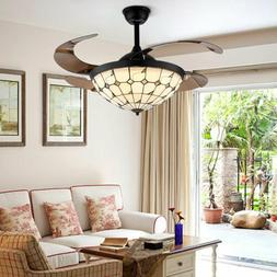 42'' Tiffany Style Ceiling Fan Retractable Blades LED Lamp D