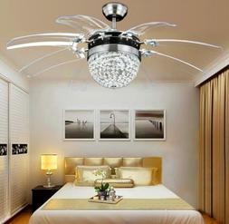 "42"" Crystal 8-Blades Take-off Ceiling Fan Light Remote Home"