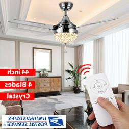 """44"""" LED Crystal Invisible Ceiling Fan Lamp Remote Control Ch"""