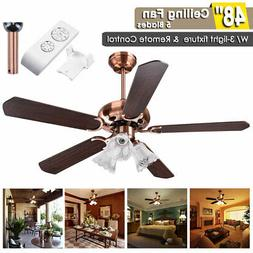 "48"" 5 Blades Ceiling Fan with Light Kit Downrod Copper Rever"