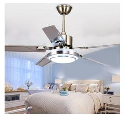 "48/52"" Modern Ceiling Fan Light Remote Control 5 Stainless S"