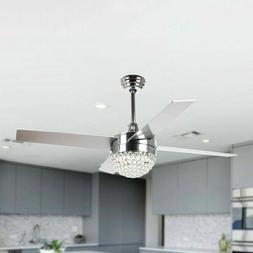 "48"" Ceiling Fan With LED Lights Modern Crystal Chandelier Fa"
