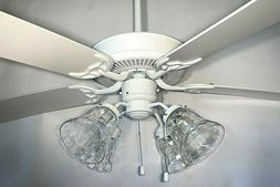 "5 blade 52"" white ceiling fan with 4 light clear wavy bell g"