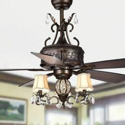 5-Blade Antique Style Ceiling Fan with 3-Lights and 52in 3-S