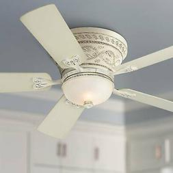 """52"""" French Hugger Ceiling Fan with Light LED Rubbed White Li"""