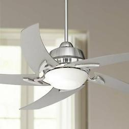 """52"""" Modern Ceiling Fan with Light LED Remote Brushed Nickel"""