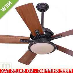 "52"" Ceiling Fan with Light Remote Downrod Close Mount Comm"