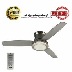 """52"""" Ceiling Fan with Light Kit and Remote Brushed Nickel Flu"""