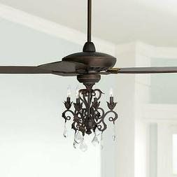 """52"""" Ceiling Fan with Light LED Remote Crystal Chandelier Bro"""