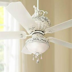 """52"""" Chic Ceiling Fan with Light LED Pretty Pink Rubbed White"""