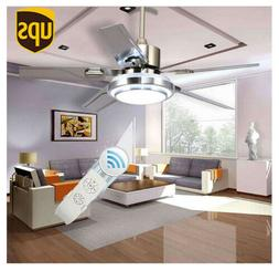 "52""Control Remote Stainless Steel Ceiling Fan Lamp Light Cha"