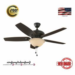 52-in Bronze Downrod or Close Mount Indoor Ceiling Fan with