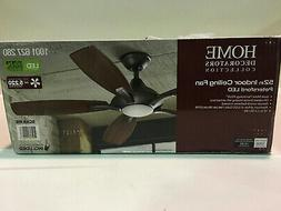 "52"" Indoor Ceiling Fan, Quiet, No-Wobble, LED Light, Bronz"