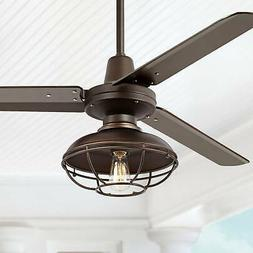 """52"""" Industrial Outdoor Ceiling Fan with Light LED Remote Bro"""