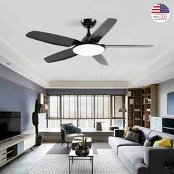 "52"" Modern Mid-Century Matte Black Ceiling Fan Light for Liv"