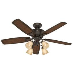 "52"" Onyx Bengal 5 Blade Ceiling Fan Remote Controlled Transi"