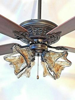 """52"""" ORB oil rubbed bronze ceiling fan with 4 light amber han"""