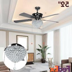 "52"" Remote Control Crystal Ceiling Fan Lights 5-Blade Revers"