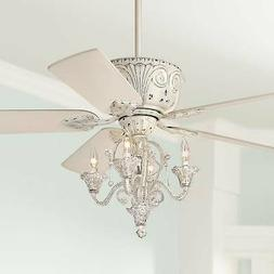 "52"" Shabby Chic Ceiling Fan with Light LED Dimmable Chandeli"