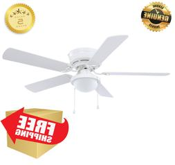 52in White LED Indoor Flush Mount Ceiling Fan 5 Blade Harbor