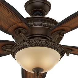 "54"" Bronze Victorian Carved Wood Blade Ceiling Fan Remote Tr"