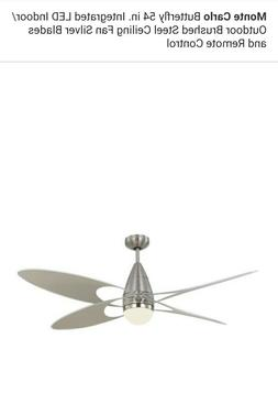 Monte Carlo 54 Inch Butterfly Brushed Steel Ceiling FanMid
