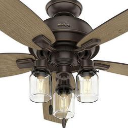 "54"" Onyx Bengal 5 Rustic Blade Ceiling Fan Country Transitio"