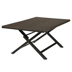 """54""""X32"""" Wicker 6-Person Folding Dining Table, With Rust-Resi"""