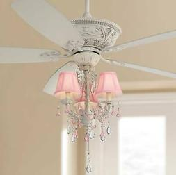 """60"""" Chic Ceiling Fan with Light LED Pink Chandelier Rubbed W"""