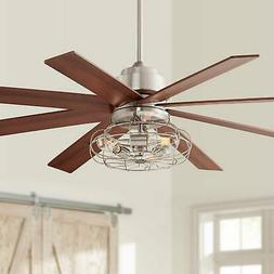 """60"""" Industrial The Strand Ceiling Fan with Light LED Brushed"""