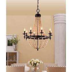 8 Light Chandelier Hanging Ceiling Fan Natural Beaded Brown