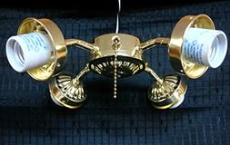 Ceiling Fan Light Kit 4 Four Arm Polished Brass Pull Chain F