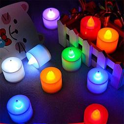 ELlight 12 PCS  Battery Operated Candles Flameless Multi Col