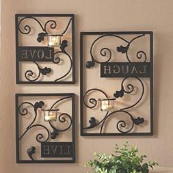 Hosley Set of Three Dark Brown Iron T-Lite Wall Sconce - Lau