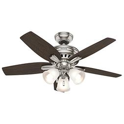"""Hunter 51085 Newsome Ceiling Fan with Light, 42""""/Small, Brus"""