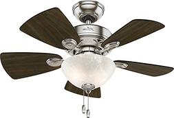 "Hunter 52092 Watson Ceiling Fan with Light, 34""/Small, Brush"