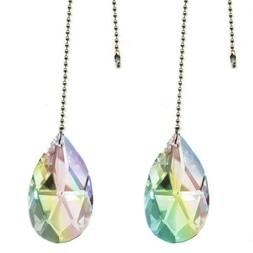 Magnificent crystal 50mm  AB Crystal Almond Prism 2 Pieces D