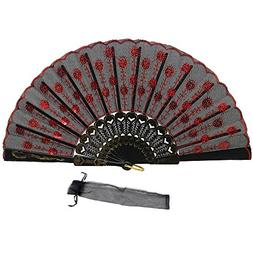 Newstarfactory Peacock Feather Red Sequins Design Black Plas