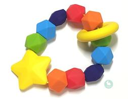 Baby Teether by Blue Rabbit Co, Rainbow Sensory Pure Silicon