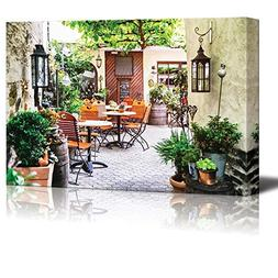 wall26 Canvas Prints Wall Art - Cafe Terrace in Small Europe