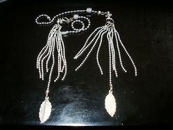A Pair Of Silver Chain Tassel Ceiling Fan Light or Lamp Pull