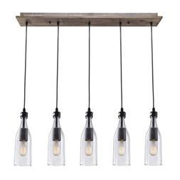 LNC A02982 Wood Pendant 5 Ceiling Linear Chandelier Kitchen