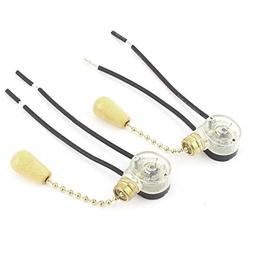 2pcs AC 6A 125V 2 Wired Ceiling Fan Light Pull Chain Switch