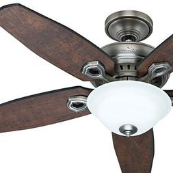"""Hunter Fan 52"""" Antique Pewter Ceiling Fan with a Frosted Pea"""